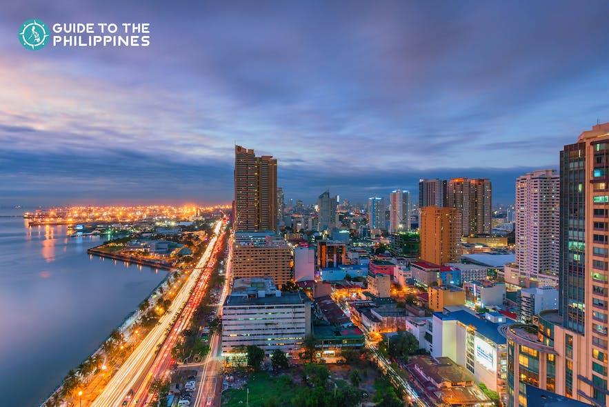 Skyline of Roxas Boulevard in Manila at night