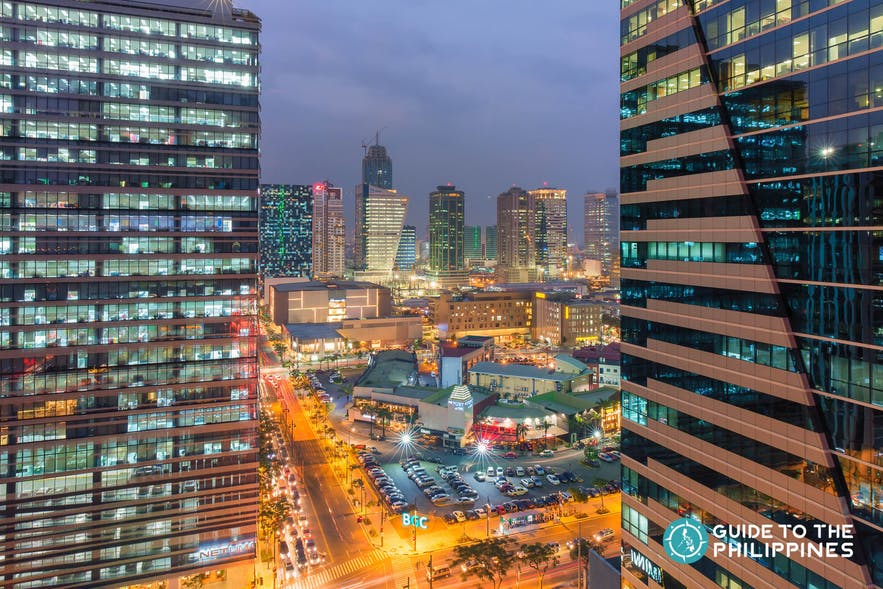 Cityscape of BGC in Taguig City at night
