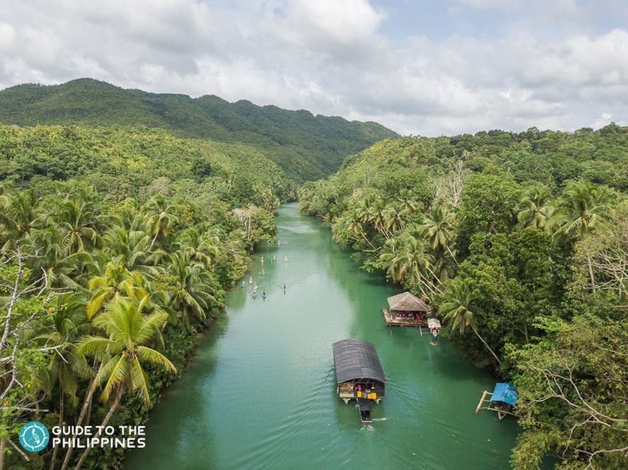 Aerial view of the Loboc River Cruise in Bohol, Philippines