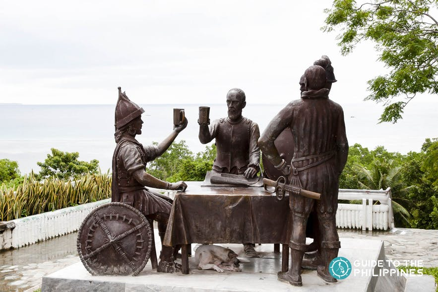 The Blood Compact Shrine depicts Sikatuna and Legazpi, as the former pledged allegiance to the latter