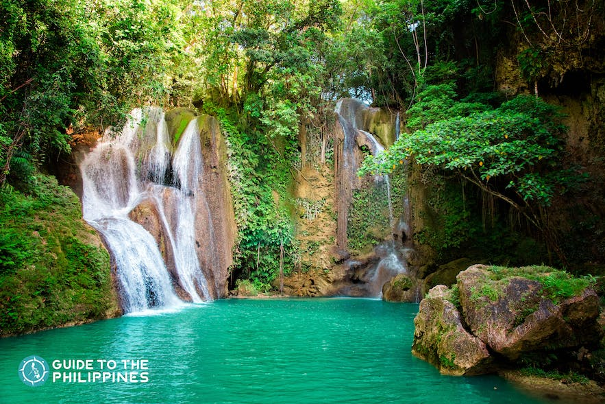 View of the Dimiao and Pahangog Twin Falls in Bohol, Philippines