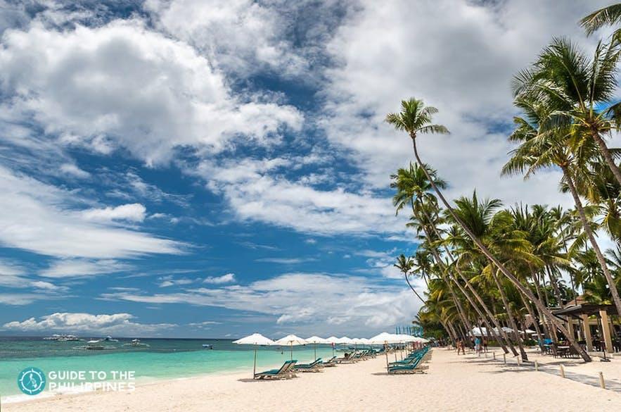 White sand Alona Beach in Bohol, Philippines