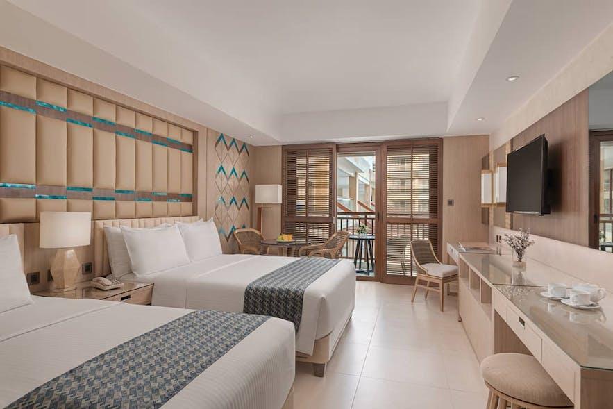 Pool view twin bed room in Henann Resort Alona Beach, Bohol