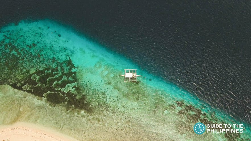 Aerial view of a boat in Pamilacan Island, Bohol