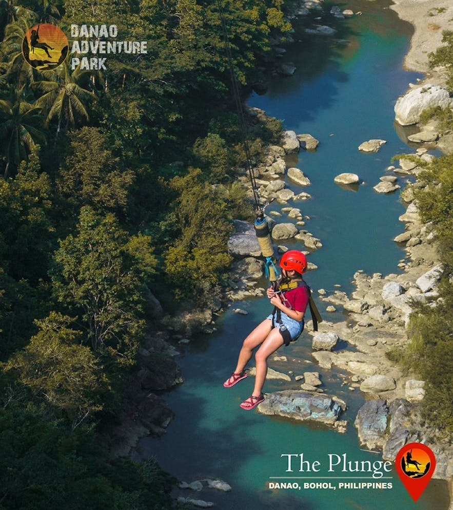Top view of a traveler at Danao Adventure Park in Bohol, Philippines