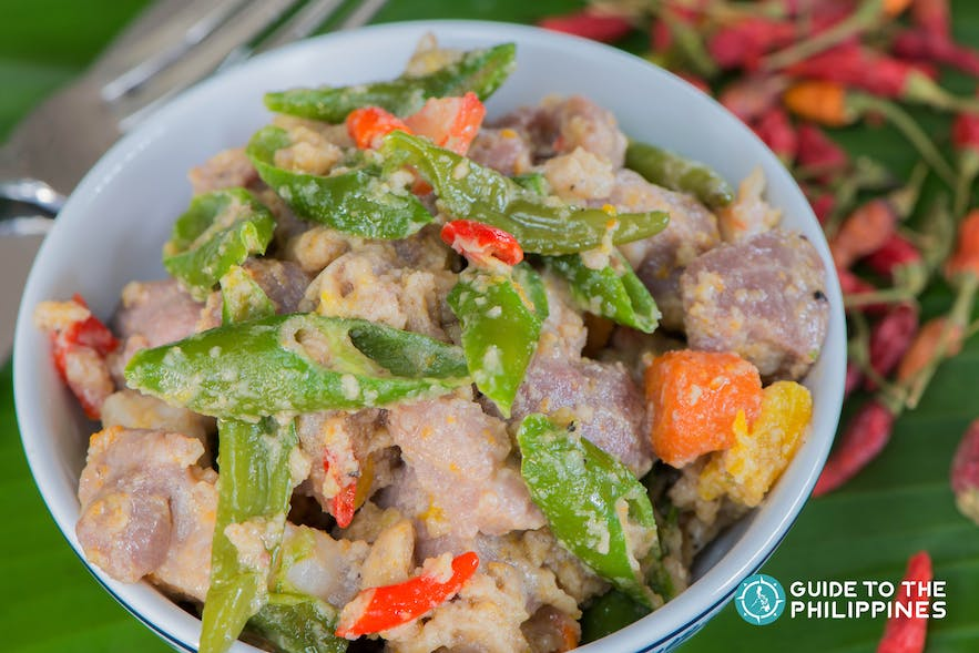 Bicol Express is a typical local dish made with coconut cream and chili
