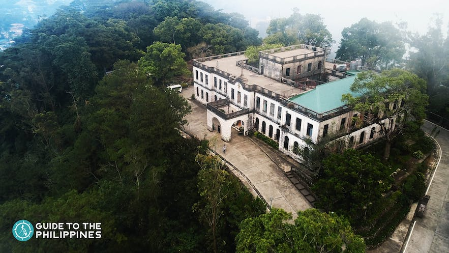 Aerial view of the abandoned Diplomat Hotel atop the Dominican Hill in Baguio