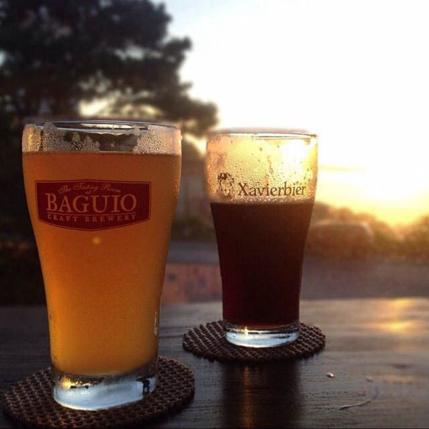Glasses of beer during sunset at Baguio Craft Brewery