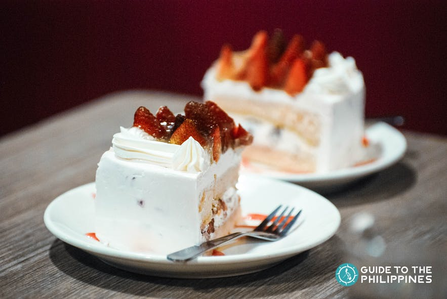 A slice of Vizco's famous Strawberry Shortcake in Baguio City, Philippines