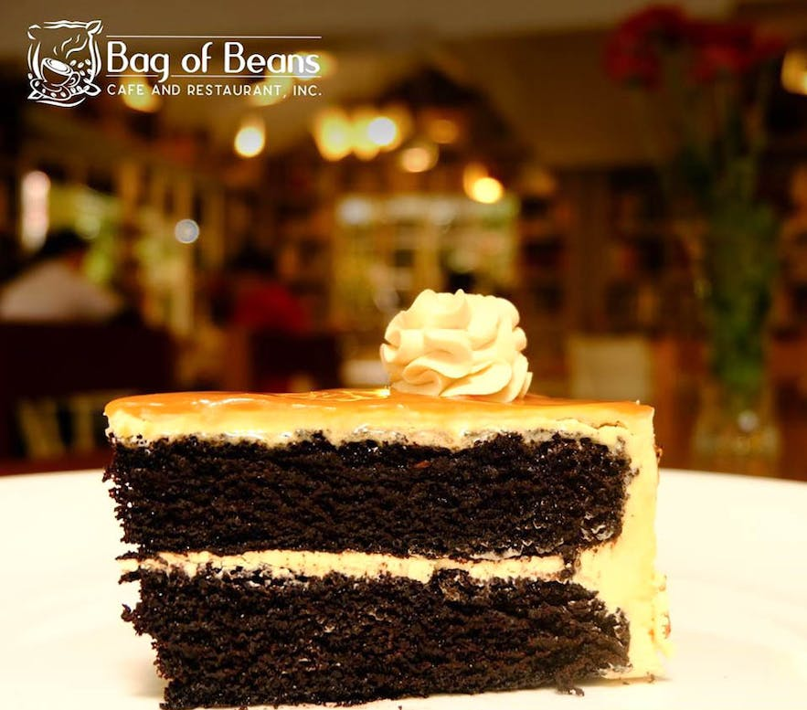 Slice of Salted Caramel cake at Bag of Beans in Tagaytay