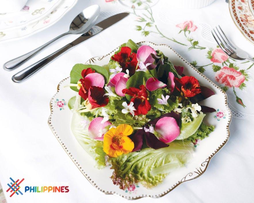 Edible flowers on salad at Sonya's Secret Garden in Tagaytay