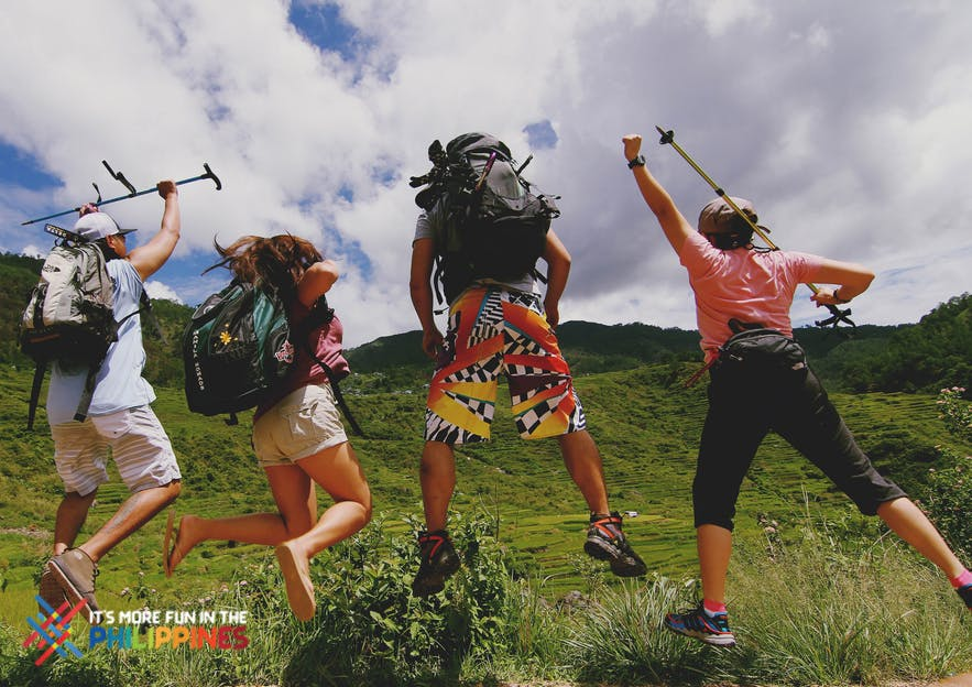 Travelers' jump shot at Sagada, Mountain Province