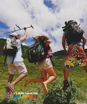 Travelers' jump shot at Sagada, Mountain Province