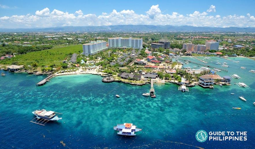 Top view of Mactan Island in Cebu, Philippines