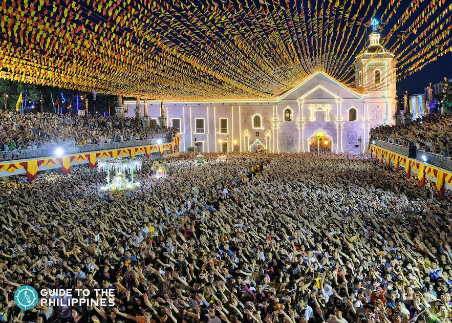 People gathered on the streets for the Sinulog Festival to honor the patron saint of Cebu, Santo Niño