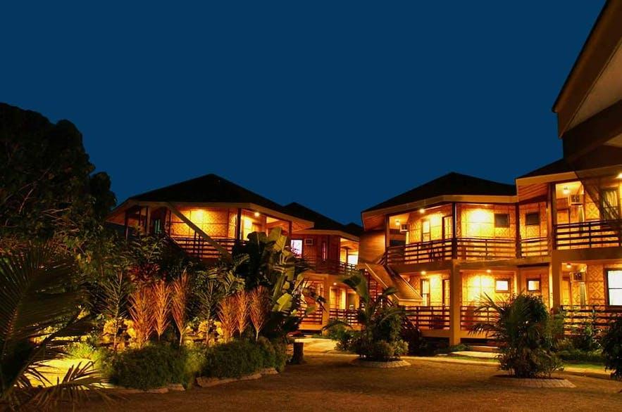 Facade of Mactan's Alta Cebu Resort at night