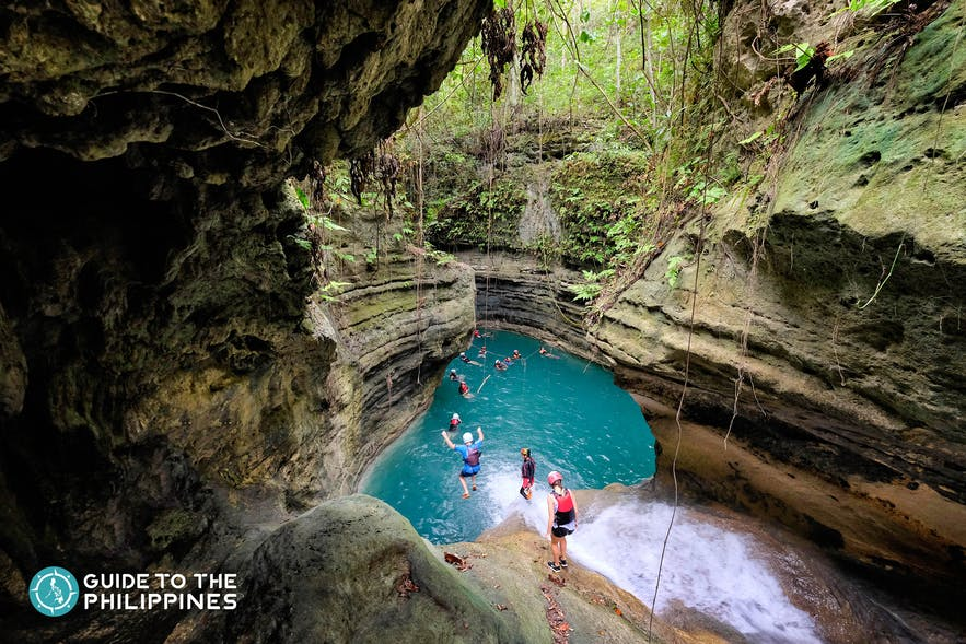 People canyoneering in Badian, Cebu