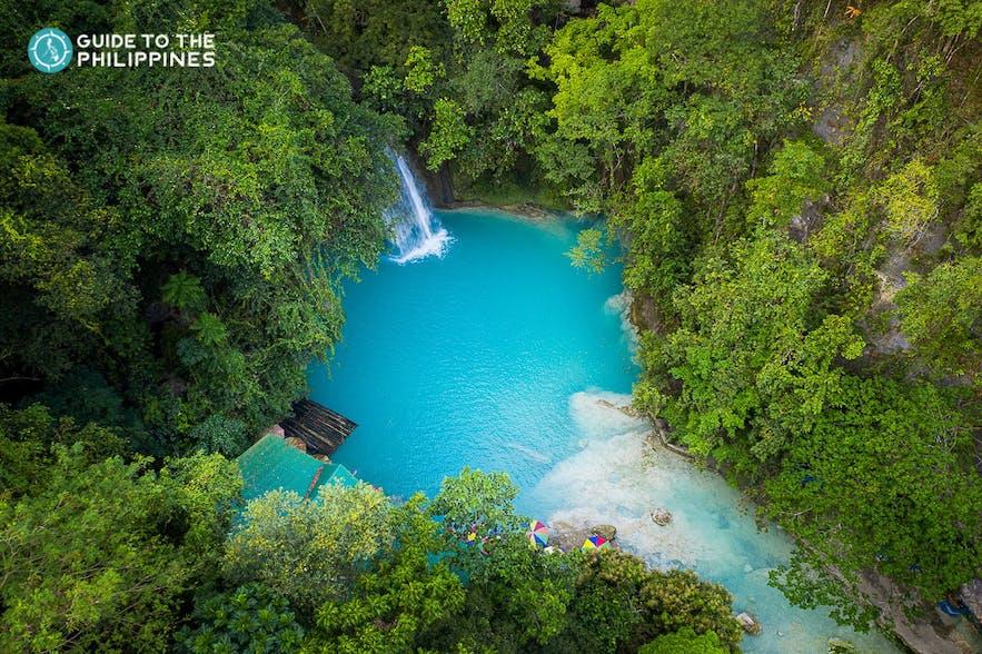 Aerial view of Kawasan Falls in Cebu, Philippines