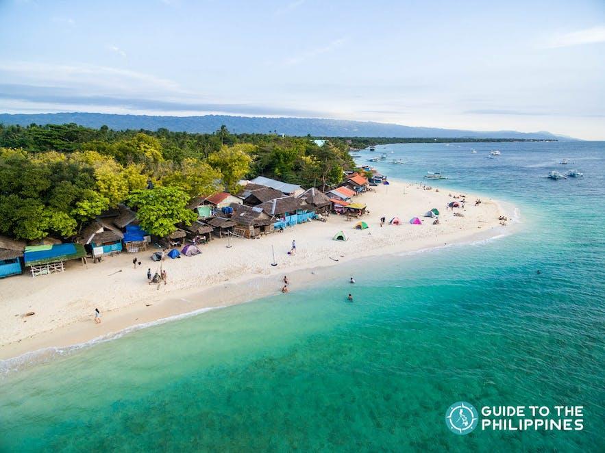 Aerial view of White Beach in Moalboal, Cebu