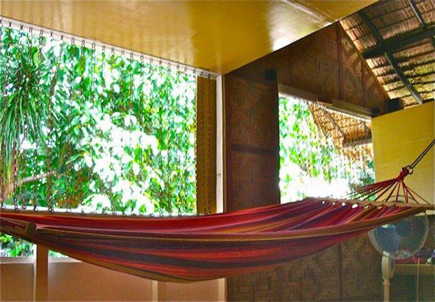 Hammock in the Red Dragon room at Moalboal Backpackers Lodge, Cebu