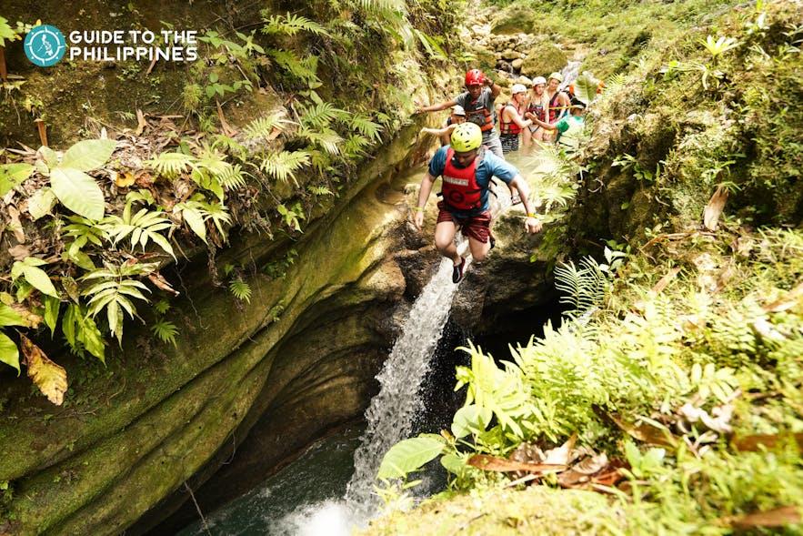 Explore canyoneering in Alegria and the Kawasan Falls in Badian near Moalboal, Cebu