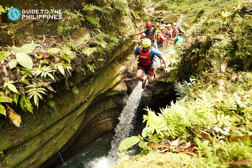 Explore canyoneering in Alegria and the Kawasan Falls in Badian near Moalboal, Cebu