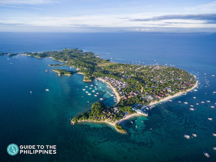Aerial shot of Malapascua Island