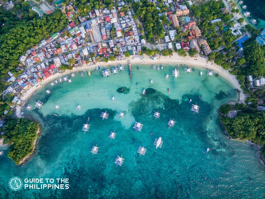 Aerial view of Bounty Beach in Malapascua Island, Cebu