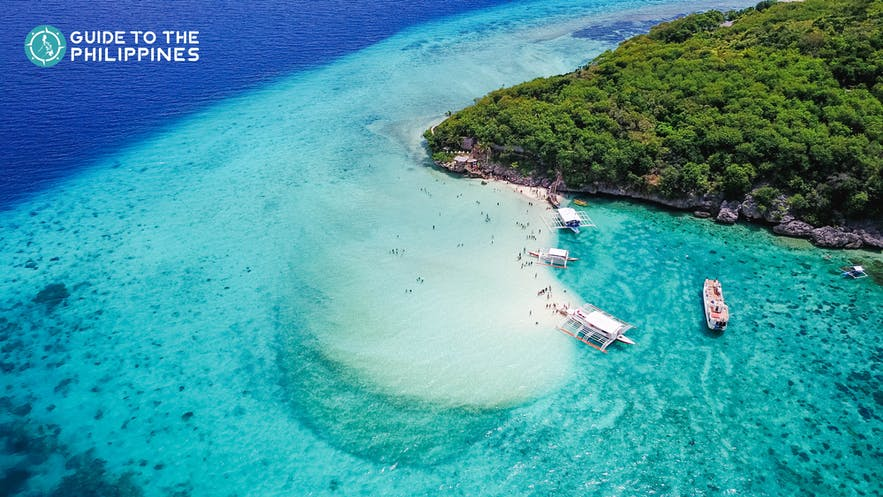 Aerial view of Sumilon Island Beach near Oslob, Cebu