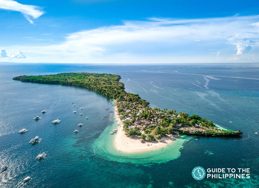 Aerial view of Tulang Diot Island in Camotes Islands