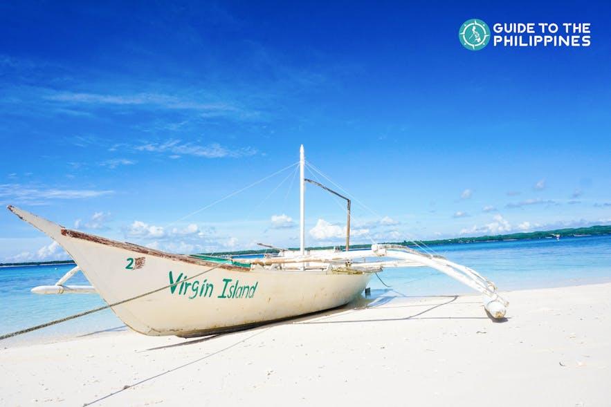 Boat at the Virgin Island Beach in Bantayan, Cebu