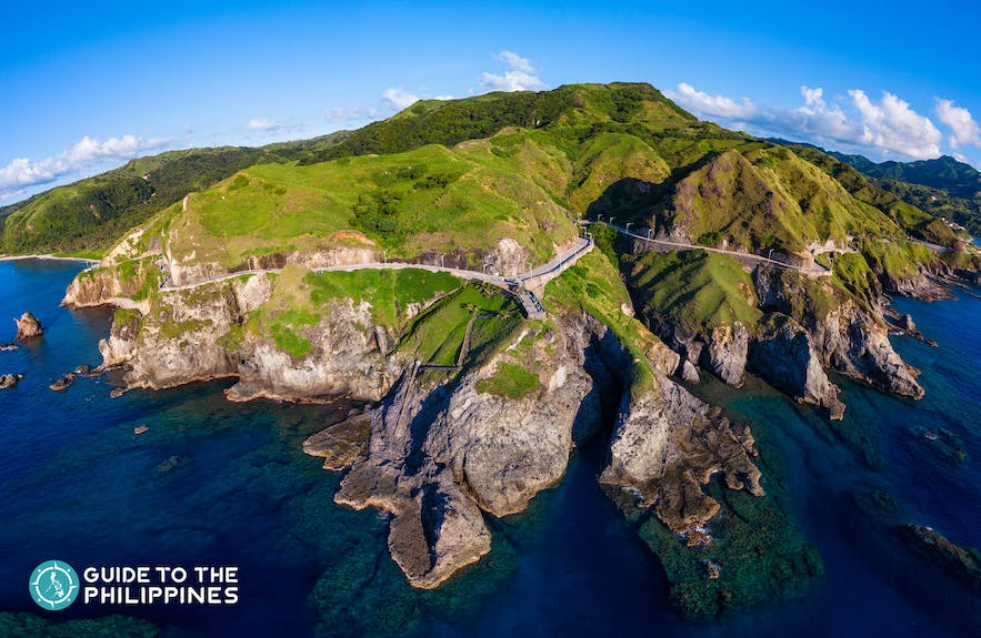 Aerial shot of the Chawa View Deck in Batanes, Philippines