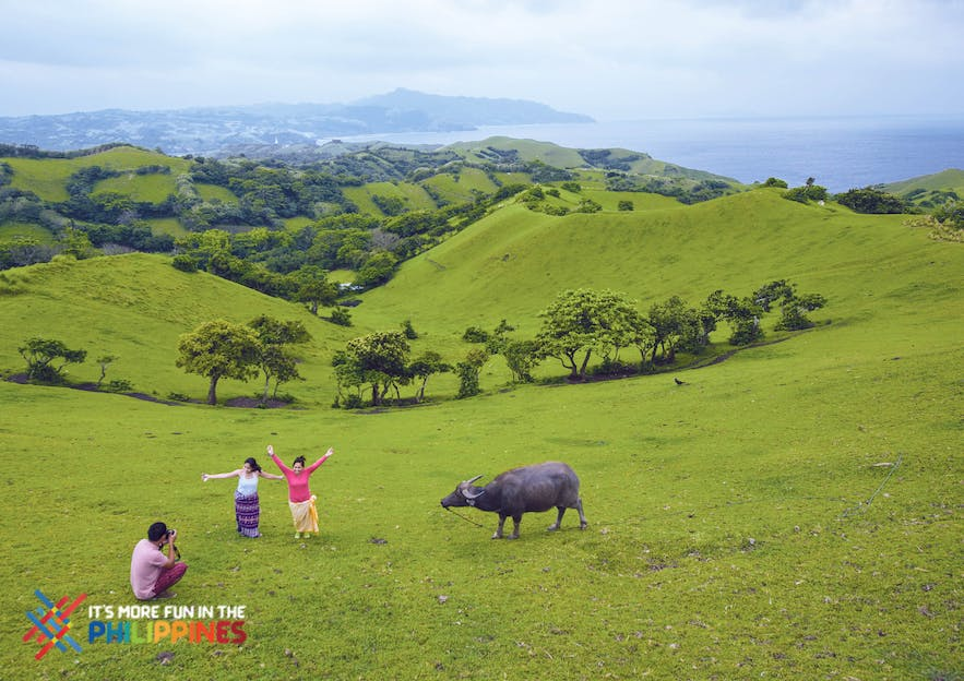 Travelers enjoying the view and taking photos at the Vayang Rolling Hills with a carabao in the side