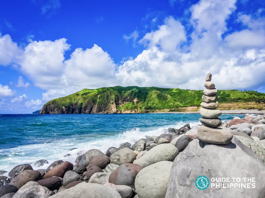 Pyramid of stones at the Valugan Boulder Beach in Batanes, Philippines