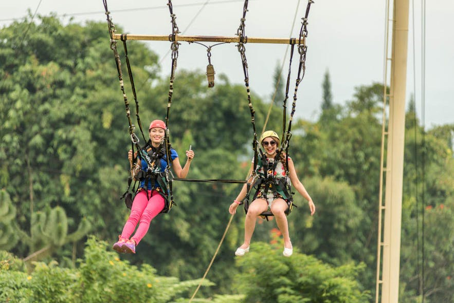 Travelers doing the Skyswing activity at Eden Nature Park Resort in Davao