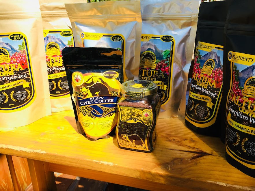 Packs of world-famous civet coffee at Mt. Apo Cafe in Davao, Philippines