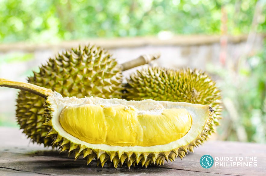 Durian showing it's thick savory-sweet yellow meat