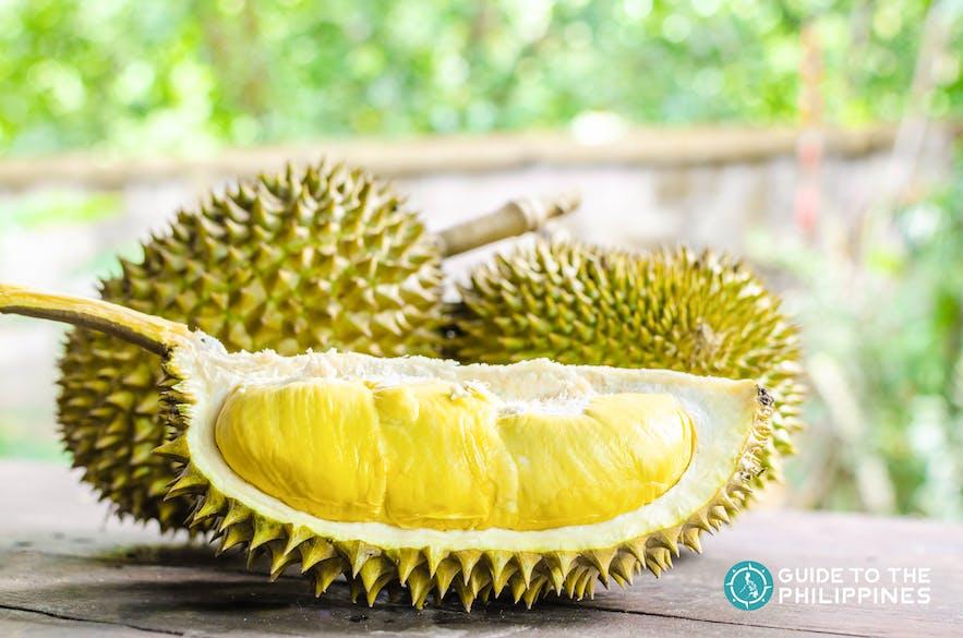 Fresh slice of durian fruit