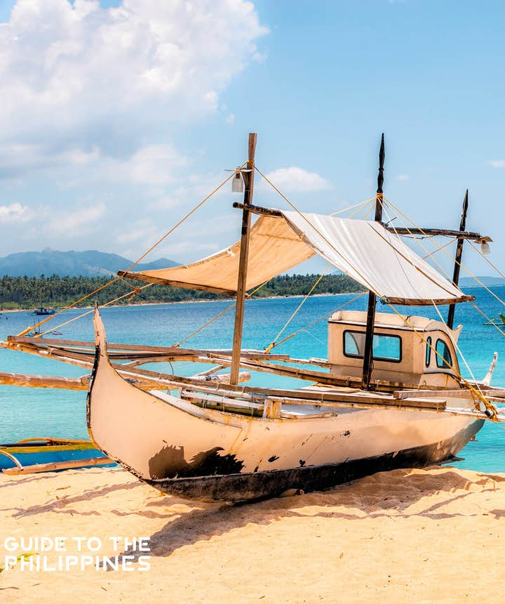 Boat docked at Dahican Beach in Mati, Davao Oriental