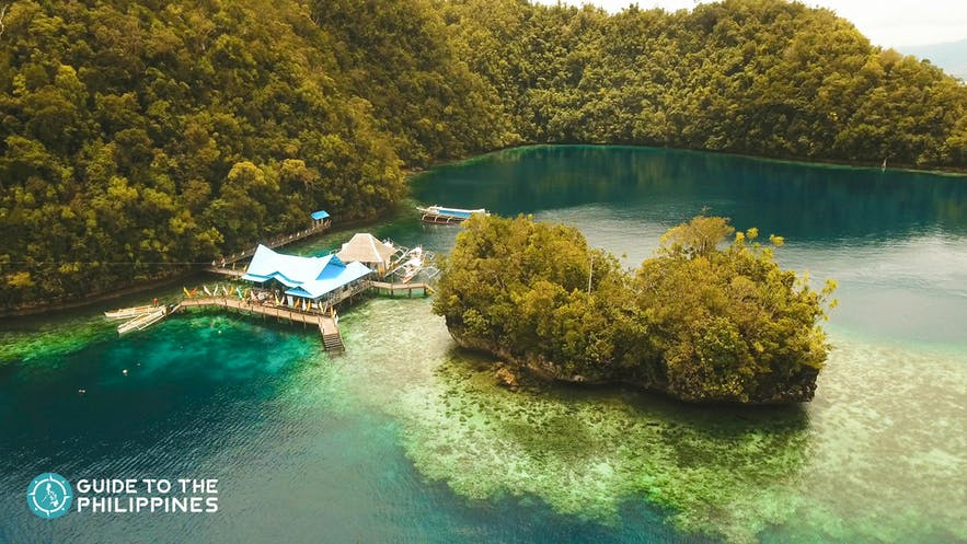 Aerial shot of the Sohoton Cove National Park in Siargao Island