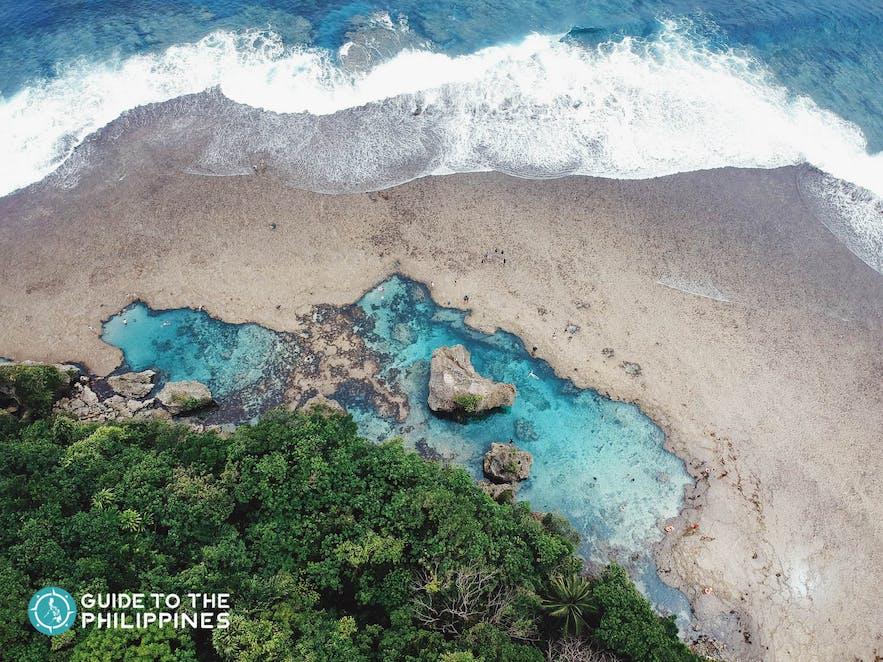 Top view of Magpupungko Rock Pools in Siargao Island