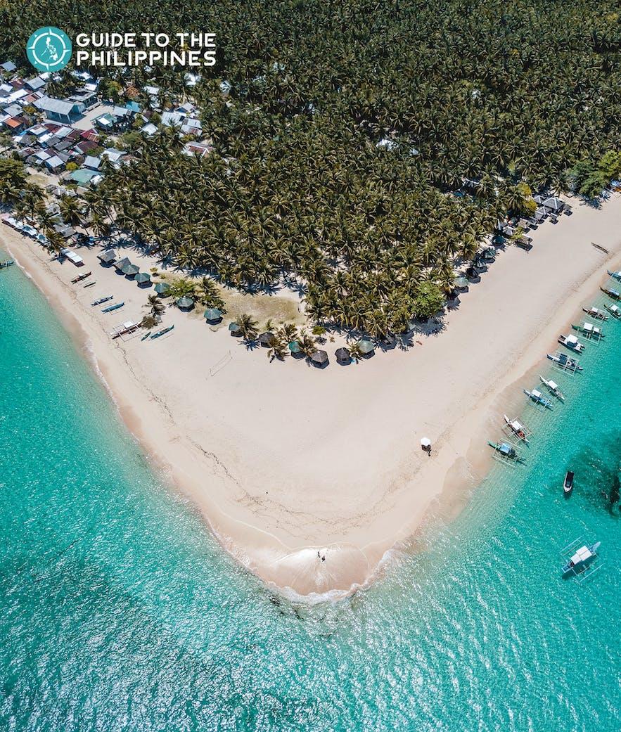 Top view of Daku Island's beach and coconut trees