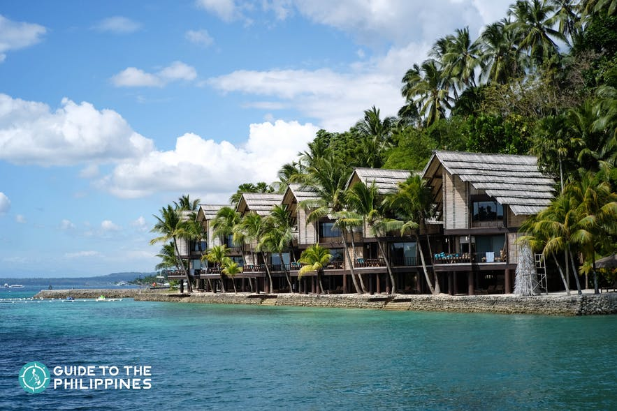 Stilt cottages at Pearl Farm in Samal Island of Davao, Philippines