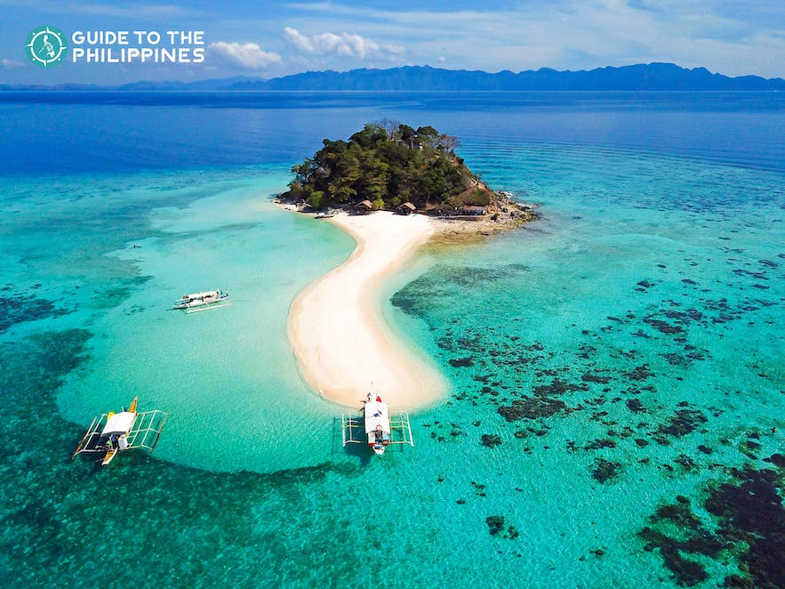 Aerial view of an island in Coron, Palawan