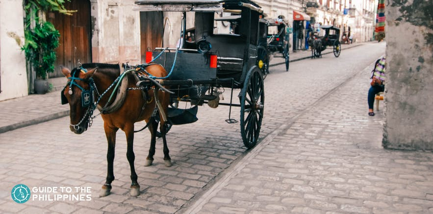 A kalesa, or horse-drawn carriage, parked along Calle Crisologo in Vigan, Ilocos Sur