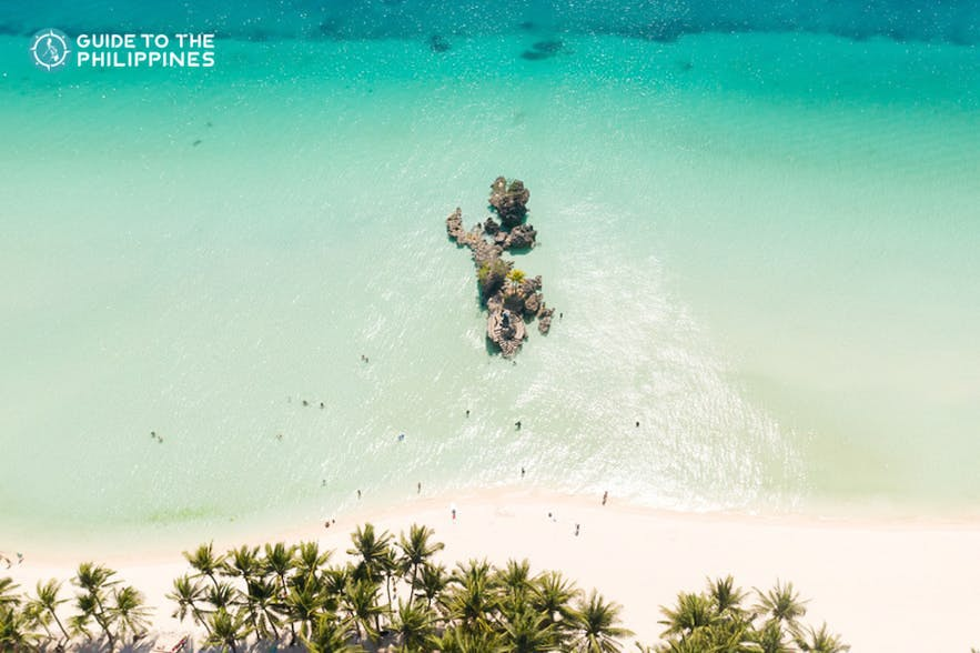 Top view of Willy's Rock at White Beach Boracay, Philippines