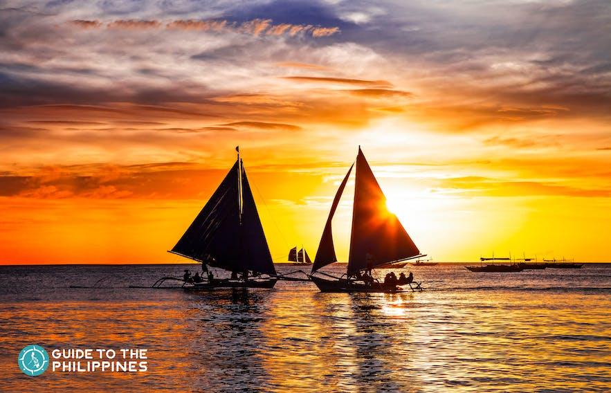 Beautiful sunset in Boracay, Philippines