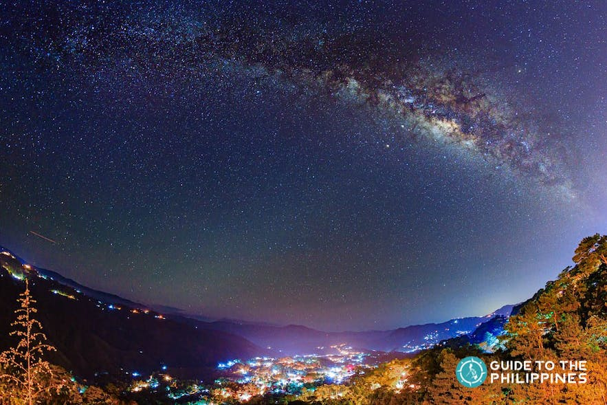 Starry night at Mines View Park in Baguio, Philippines