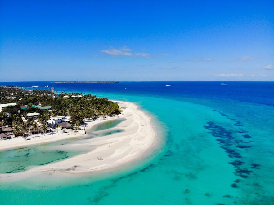 Aerial view of Kota Beach in Bantayan Island of Cebu