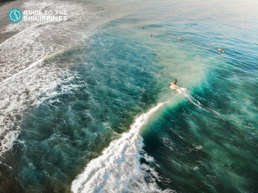 Top view of surfers at San Juan, La Union